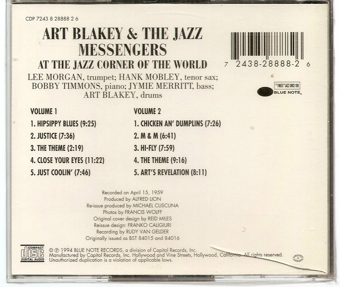 At the Jazz Corner of the World Art Blakey sealed 2X CD Lee Morgan Bobby Timmons