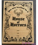 Wood-mounted House of Horrors Invitation Halloween Rubber Stamp Scrap-bo... - $7.99