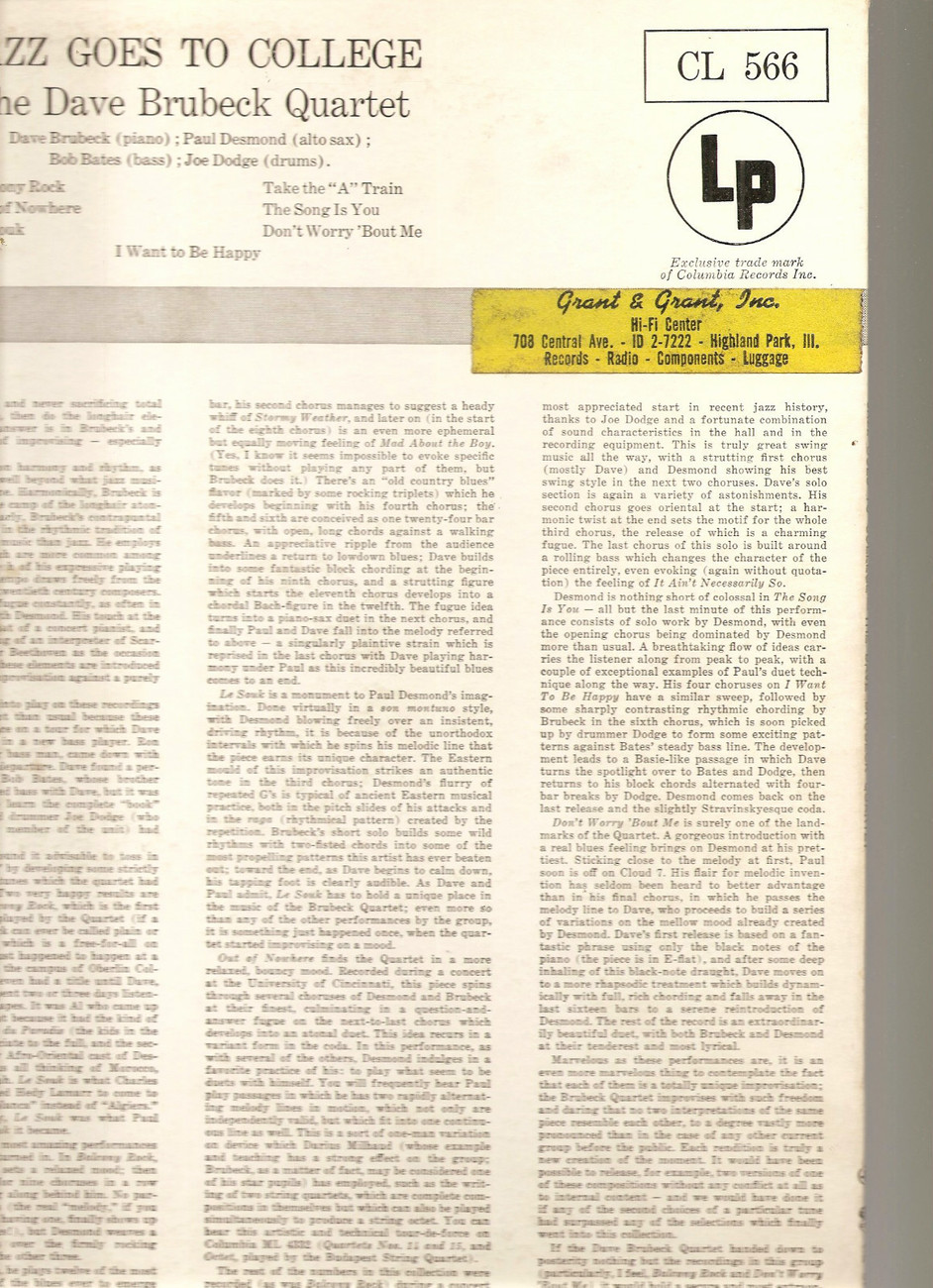 Dave Brubeck Jazz Goes To College 6-eye LP VG+ Paul Desmond Take the A Train