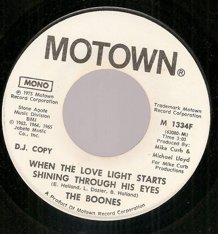 Debby Boone Boones dj promo 45 Motown When Love Light Starts Shining Supremes