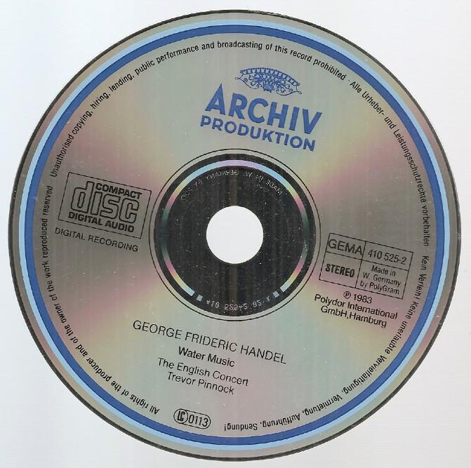 Handel Water Music English Concert Trevor Pinnock CD W. Germany 1983 DG Archiv