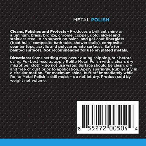 Rolite Metal Polish Paste 4.5oz for Aluminum, Brass, Bronze, Chrome, Copper, Gol