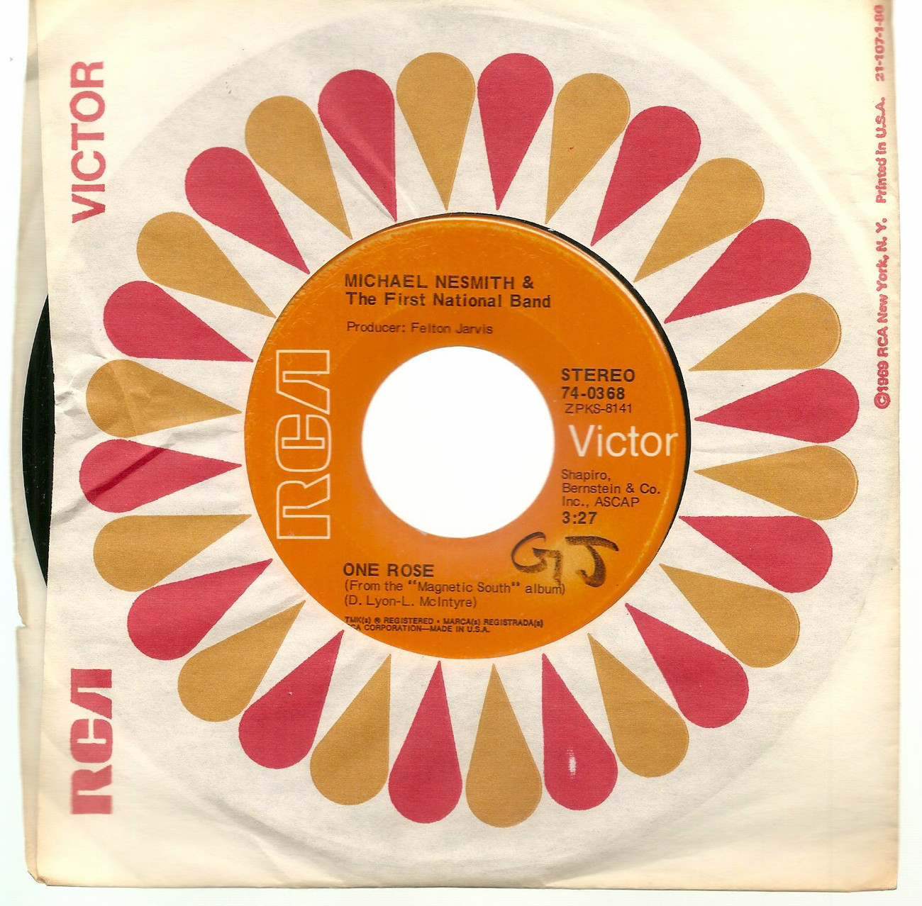 """Michael Nesmith Monkees US 7"""" 45 Joanne One Rose RCA 1970 Jimmie Rodgers cover"""