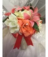 Wedding silk bridal bouquet flowers ivory coral peach cream roses 21pc  - $147.51
