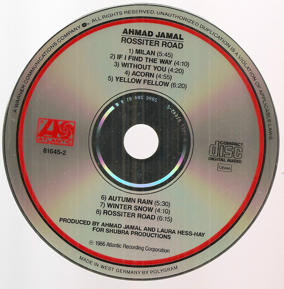 Rossiter Road Ahmad Jamal jazz CD made in West Germany by Polygram Barry Diament
