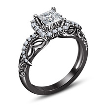 Solitaire W/ Accents Engagement Ring 18k Black Gold Finish 925 Silver Di... - $76.88