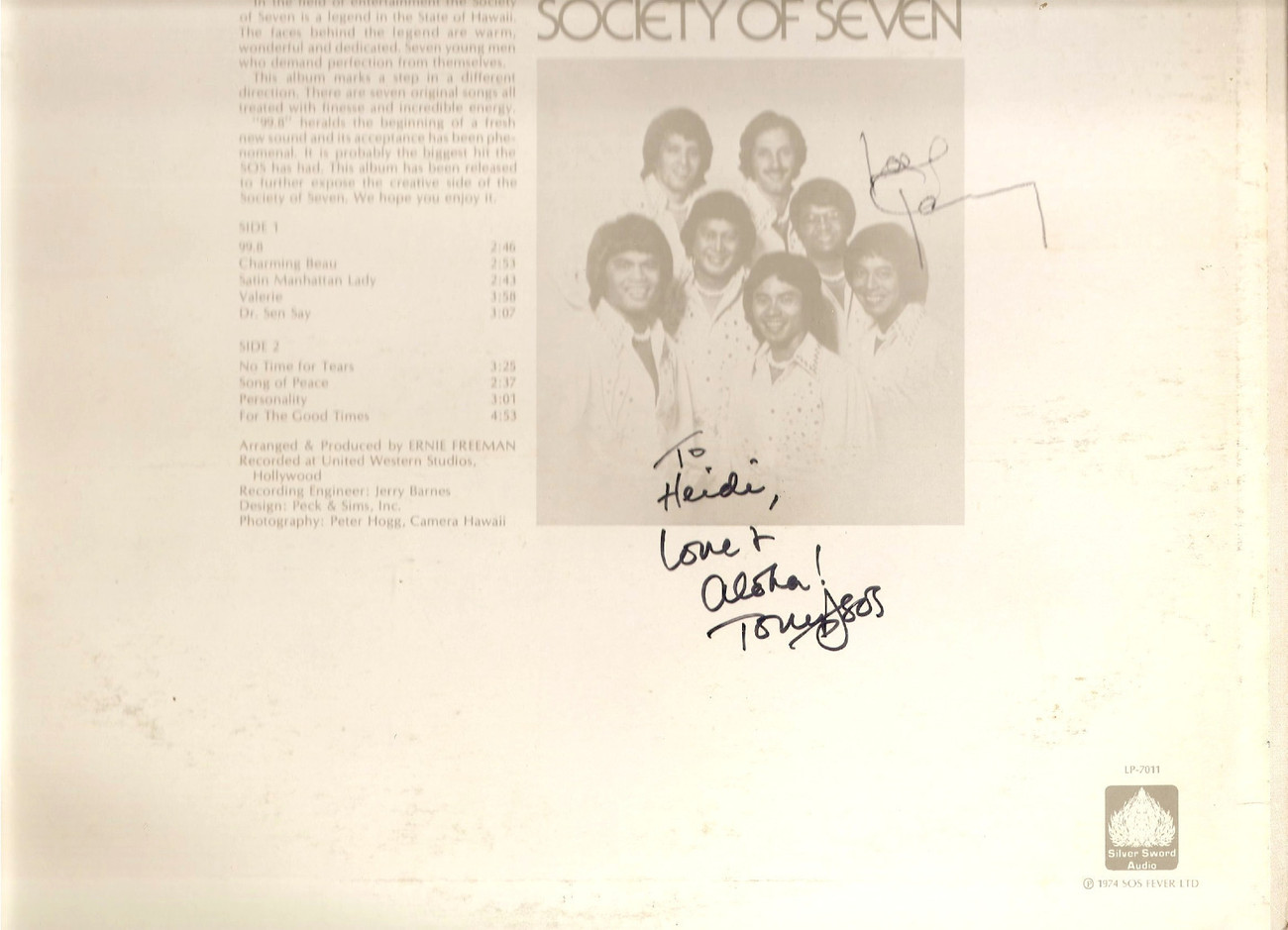 Society of Seven 99.8 LP signed autographed Hawaiian modern soul funk boogie
