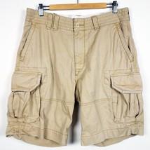 "Polo Ralph Lauren Khaki Chino Cargo Shorts Men's 34 10"" Inseam 100% Cotton - $24.99"
