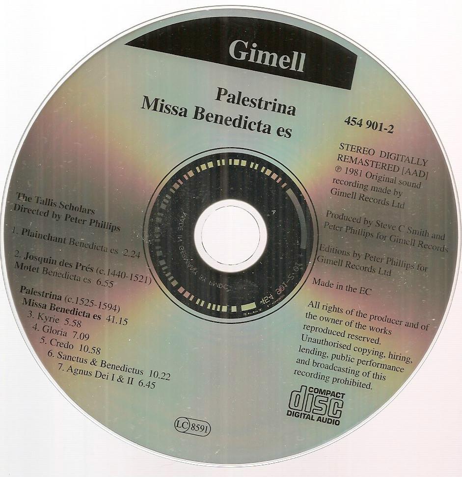 Tallis Scholars Palestrina Masses Missa Benedicta es CD a cappella sacred Gimell
