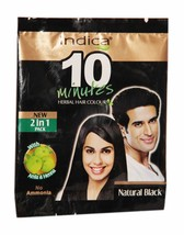 10 Packet Indica 10 Minutes Herbal Hair Color-Natural Black with Amla & Heena - $25.20