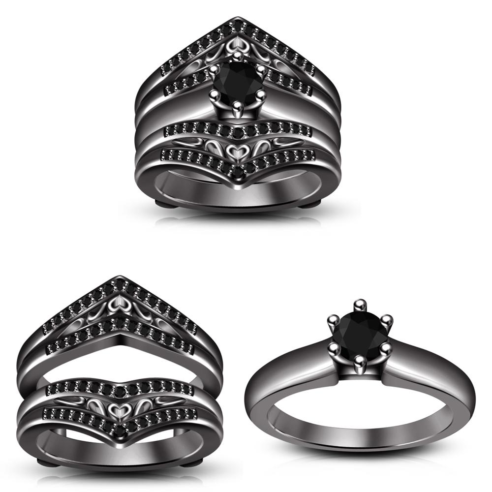 Black Round Cz Engagement  Bridal Wrap Ring Set For Women's & Free Shipping