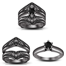 Black Round Cz Engagement  Bridal Wrap Ring Set For Women's & Free Shipping - $167.30