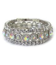 Crystal Glass Bling Fashion Stretch Bracelet 3 Row - $20.99