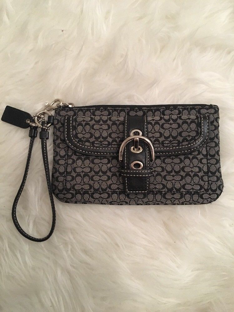 Coach Black Gray Signature Wristlet Clutch