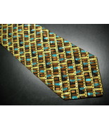 Italo Ferretti Neck Tie Silk Hand Made In Italy Golds and Black Browns a... - $24.99
