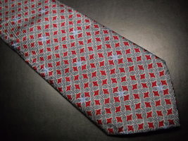 Italo Ferretti Neck Tie Silk Hand Made In Italy Greys Maroons with Blue Accents - $24.99