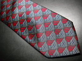 Santostefano Neck Tie Silk Hand Made In Italy Swirls of Reds White and Black - $24.99