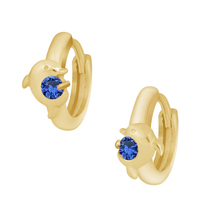 0.20 Carat Round Cut Sapphire Dolphin Hoop Earrings 18k Yellow Gold Finish  - $55.92