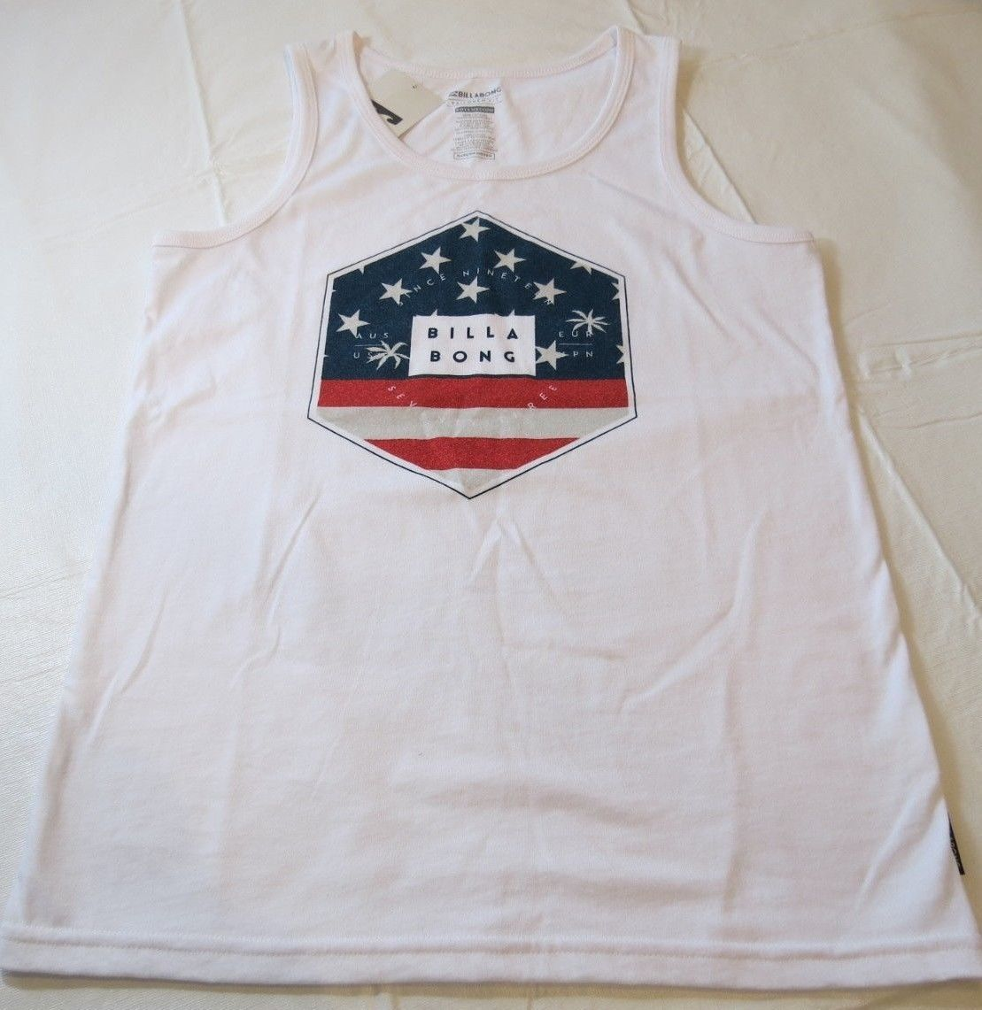 Billabong Boys youth tank top shirt XL Tailored Fit Access BT83PBAC White Flag