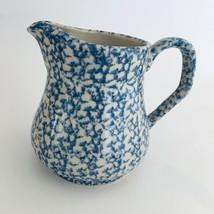 "Blue Spongeware Stoneware Pottery Pitcher 5.25"" High - $14.46 CAD"