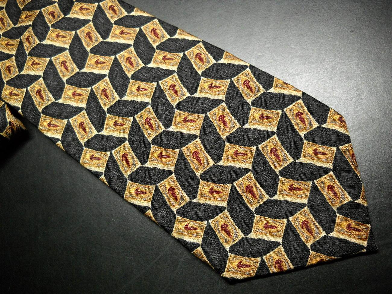 JZ Richards Nordstroms Silk Dress Neck Tie Design 8252 Golden Browns Black 2000 J.Z. Richards
