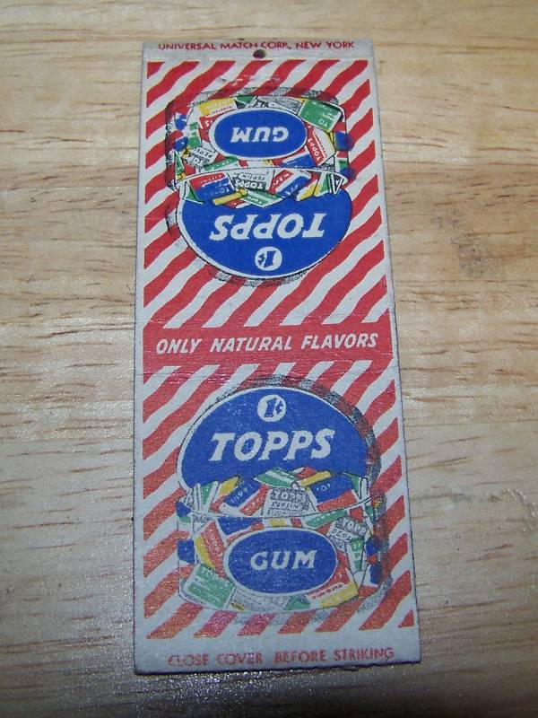 1 cent Topps Gum Only Natural flavors Matchbook cover Bonanza