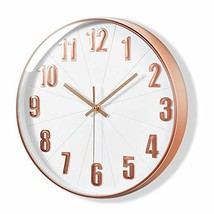 MixArt Rose Gold Wall Clock, Silent Non Ticking - 12 Inch Quality Quartz... - $22.53