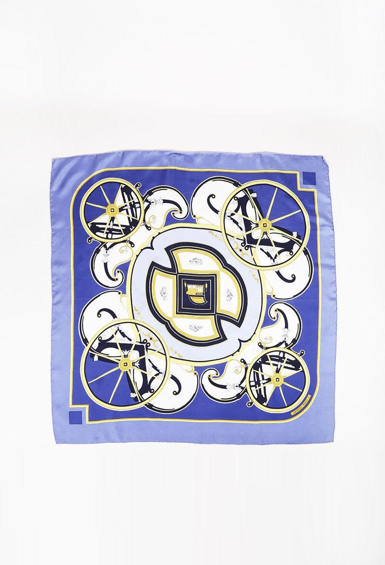 "Hermes Multicolor Silk Twill ""Washington's Carriage"" Printed Scarf"