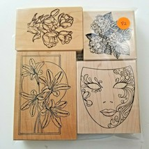 Inkadinkado Floral and Mask assorted Stamp Set, EUC 4 Stamps - $11.73