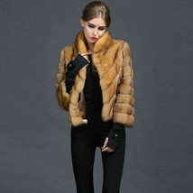 Golden Sable Fur Coat  Diagonal Stitching Stand Up Collar Zibeline Sobol... - $3,113.55