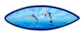 Dolphin Surfboard Wall Art Hand painted handcrafted wooden porpoise fish... - $129.00