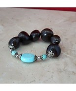 Dark Brown and Turquoise Stretch Bracelet - $7.99
