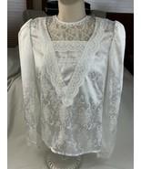 Vtg  Gunne Sax Blouse White Lace shirt top Sz 3 Polyester - $60.76