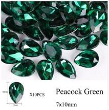 HS Garden - 10pcs Peacock Green Drop Water Nail Art Rhinestones Crystal 7x10 mm - $2.68