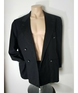 GIANNI VERSACE VINTAGE Black DRESS JACKET Medusa Lined Rhinestone Button... - $123.75