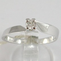 White Gold Ring 750 18k, Solitaire, Square Criss Crossed, Diamond, Ct 0.15 image 1