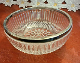 "Vintage Cut Glass Bowl with Silver Plated Rim  8 1/2 "" image 4"