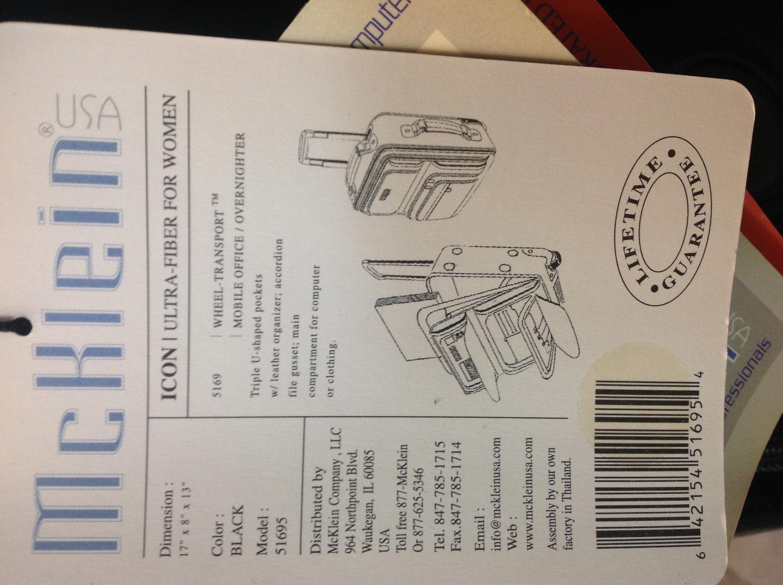 Mcklein Wheeled Transport Computer/ Clothing Case (Black) Ultra Fiber 51695 image 2