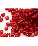 Miyuki Delicas 11/0, S/L Dyed Red 602, 50g bag of glass cylinder seed beads - $20.25