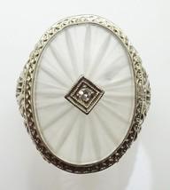 14k Gold Filigree Oval Genuine Natural Camphor / Quartz Ring w/ Diamond (#3452) - $448.88