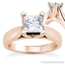 Square Brilliant Cut Moissanite 14k Rose Gold 4-Prong Solitaire Engageme... - £566.41 GBP+
