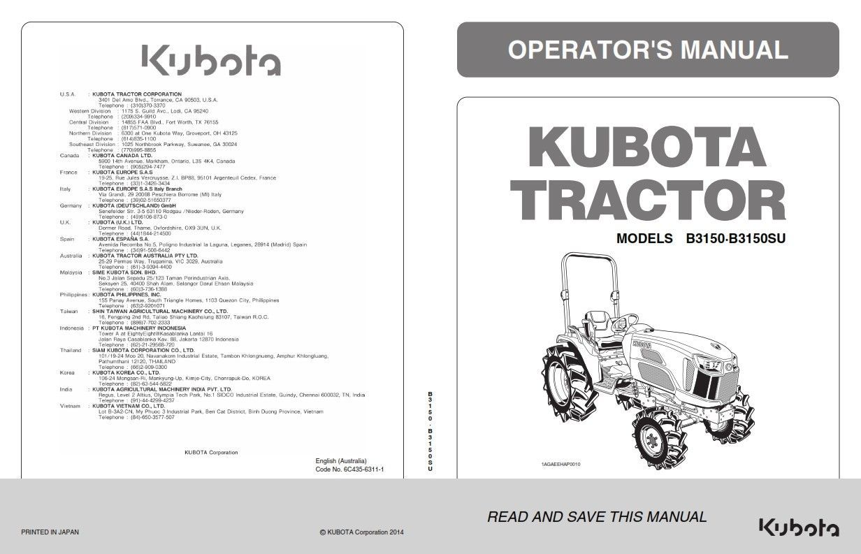 KUBOTA TRACTOR B3150 B3150SU OPERATORS MANUAL REPRINT COMB BOUND