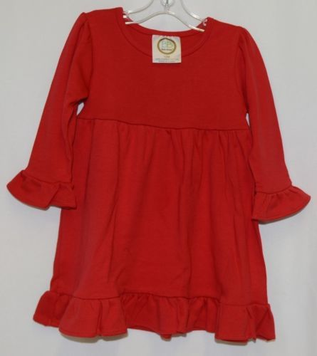 Blanks Boutique Red Long Sleeve Empire Waist Ruffle Dress Size 12M