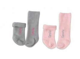 """COROLLE MON CLASSIQUE Baby Doll SOCKS Pink & Grey (Fits 14"""" doll) BMD60-0"""