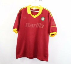 90s Adidas Mens Large AS Roma Barilla Spell Out Home Football Soccer Jersey - $108.85