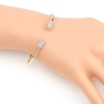 UE- Gold Tone Designer Bangle Bracelet With Sparkling Swarovski Style Cr... - $18.99