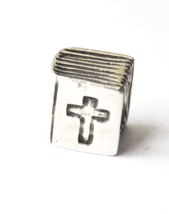Sterling Silver Pandora Cross Book Holy Bible Charm Bead 790264 7mm x 8mm - $49.49