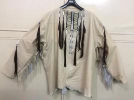 New Mens Native American Beige Buckskin Goat Leather Hippie War Shirt NA46 image 3
