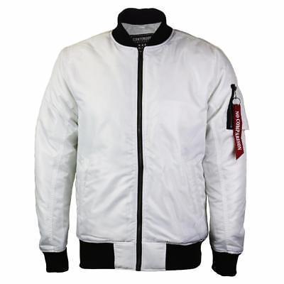 Contender Men's Premium Water Resistant Padded Zip Up Flight Bomber Jacket White