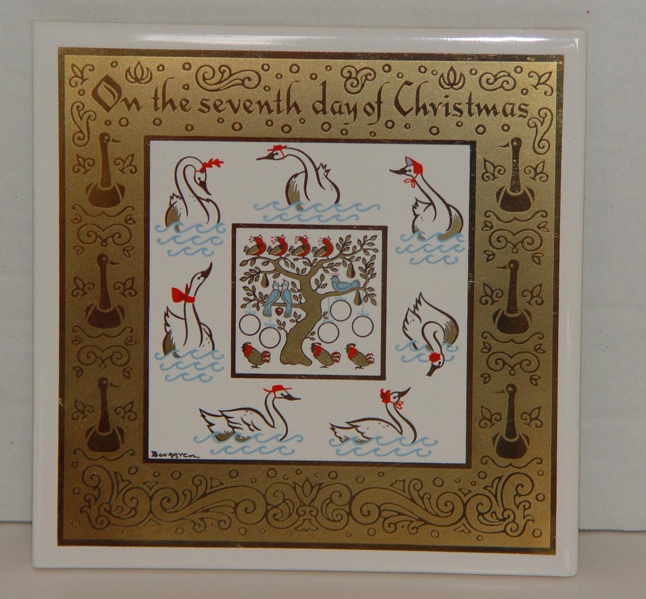 Berggren Swedish Collectble Tile The Seventh Day Of Christmas Kitchen Trivet